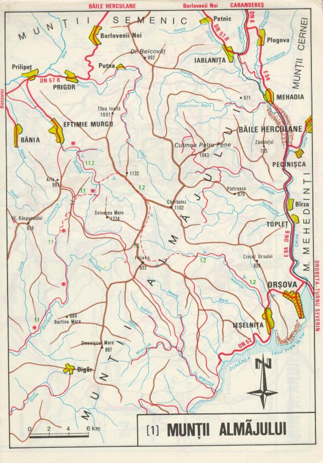 Harta Muntii Almaj Asociatia De Turism Montan Cocosul De Munte